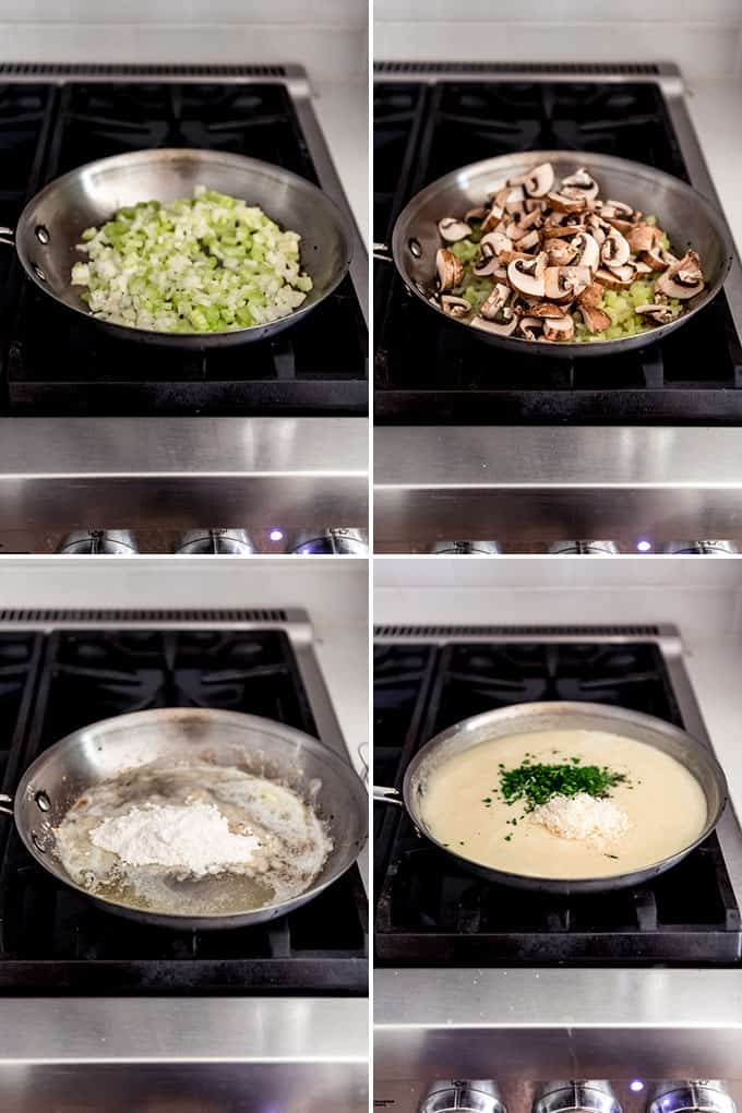 A collage of images showing how to make a replacement for cream of mushroom or cream of chicken soup.