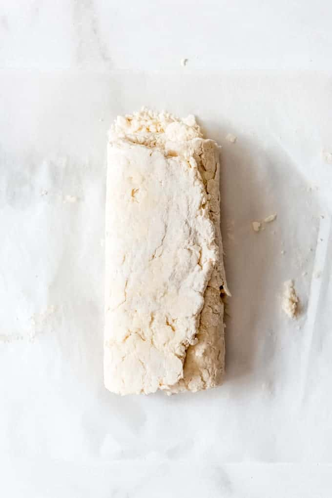 biscuit dough folded into thirds