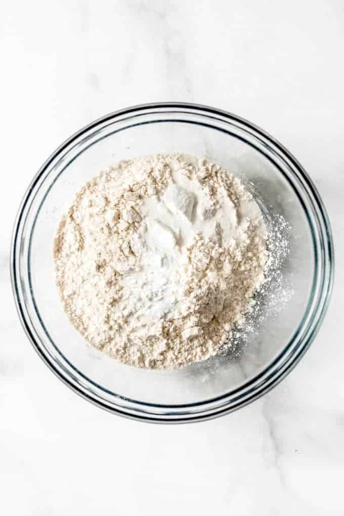 A bowl of flour and other dry ingredients
