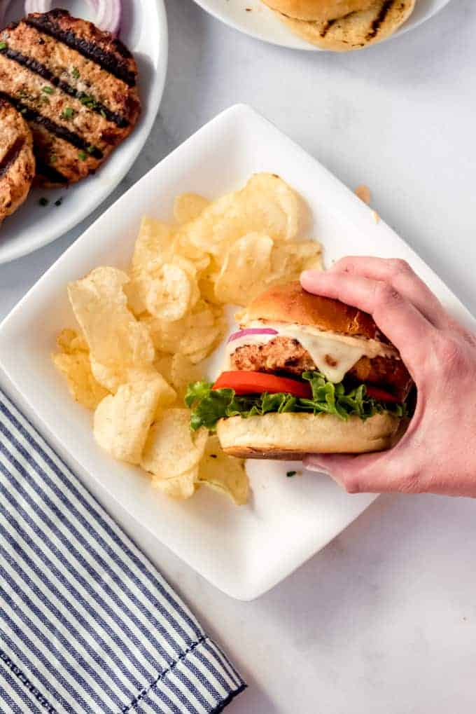 A hand holding a grilled turkey burger over a white plate with potato chips.