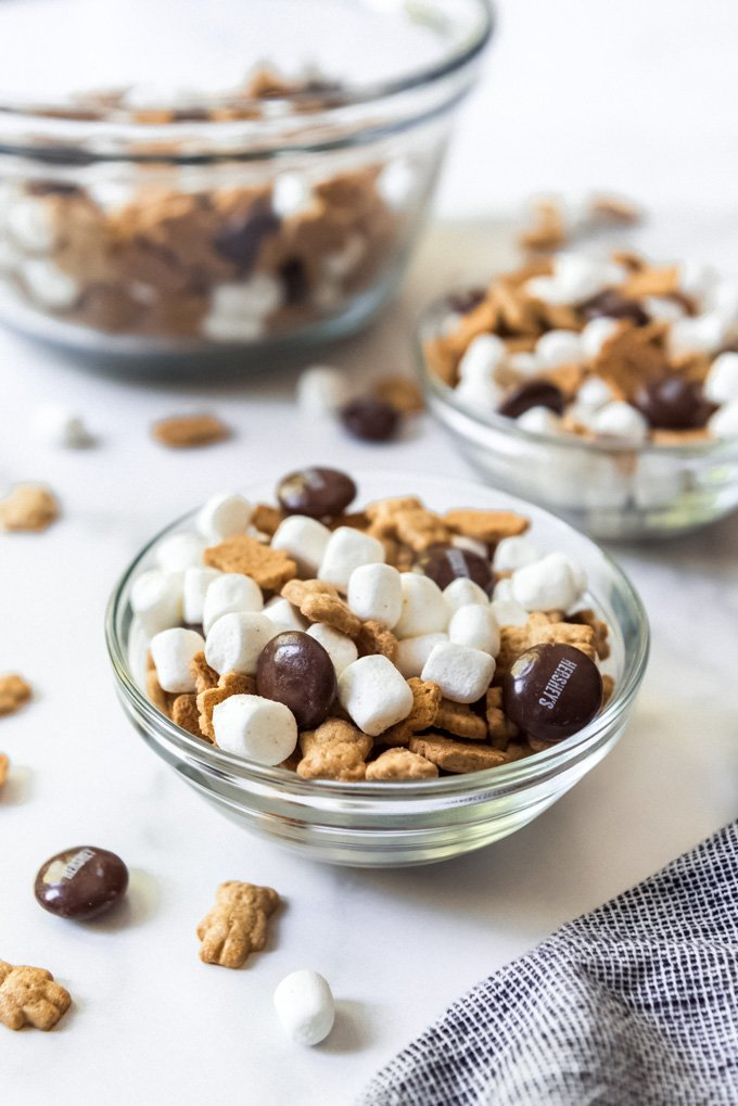 A bowl of s'mores party snack mix.