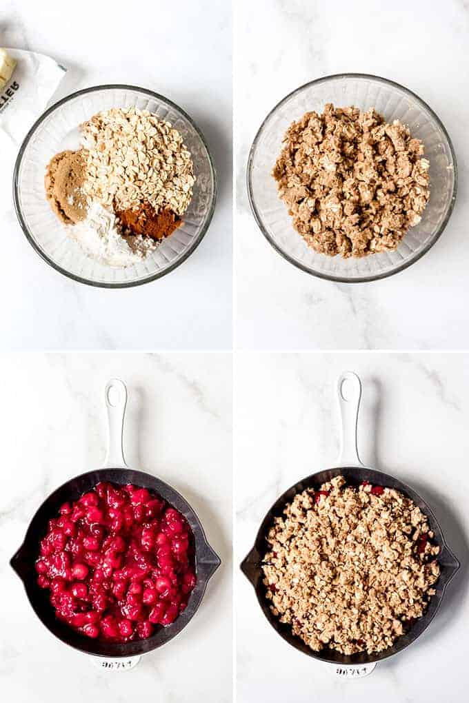 A collage of images showing how to make and assemble cherry crisp.