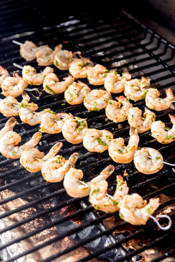 shrimp skewers on a grill