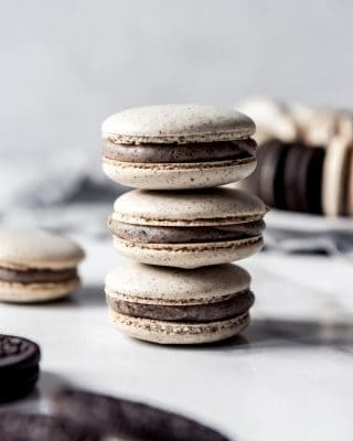 stacked cookies and cream macarons