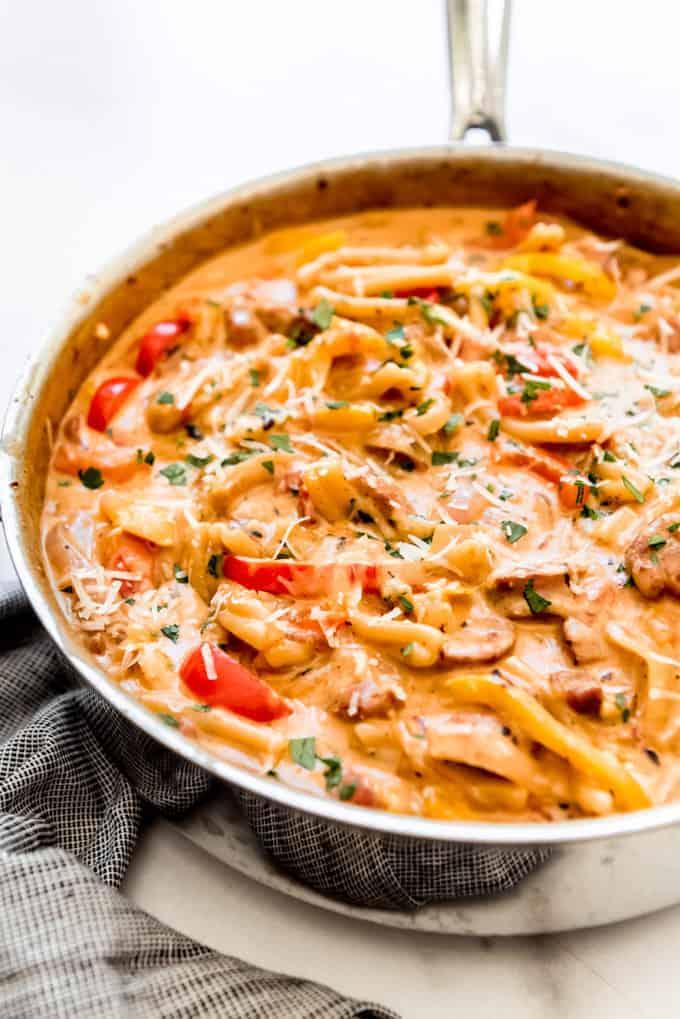one pan of cajun pasta with sausage