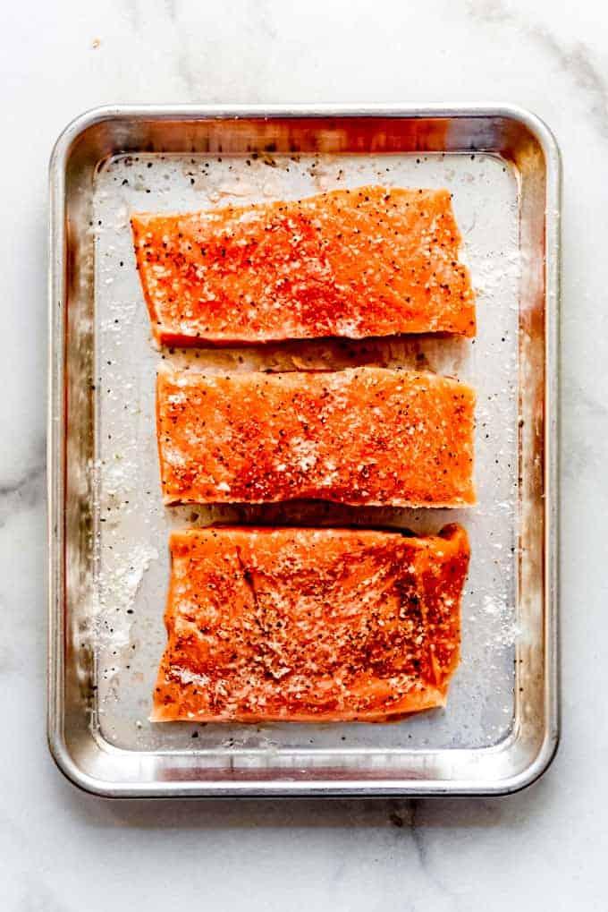 Raw, seasoned salmon