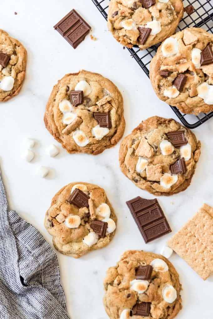 S'mores cookies arranged on a white surface.