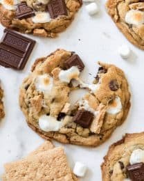 A s'mores cookie that has been pulled in half.