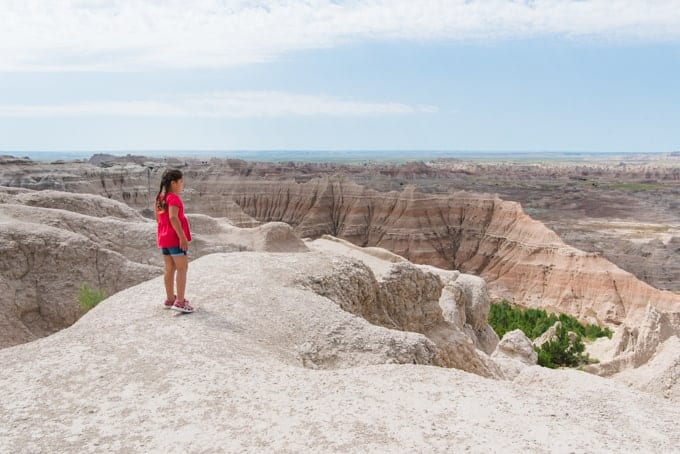 A child in a red shirt looking over a valley in Badlands National Park.