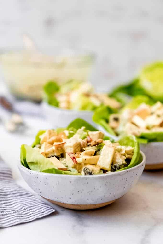 A side view of a bowl filled with chicken salad and lettuce