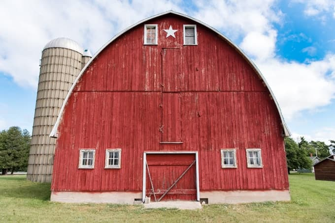 A red barn in Door County, Wisconsin.