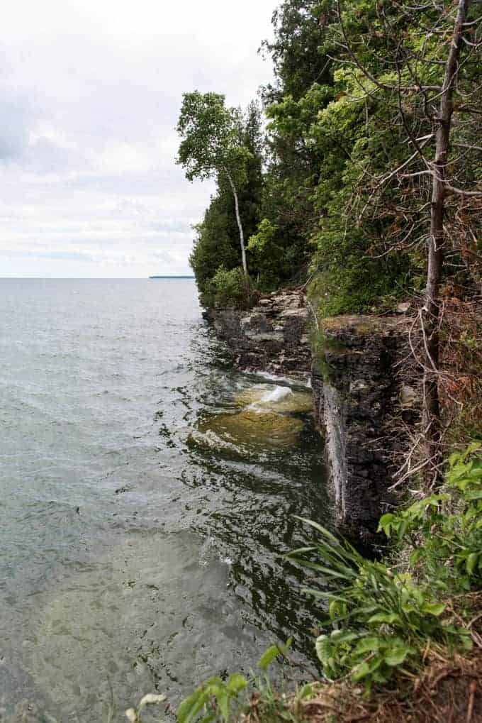 An image of the cliffs at Cave Point County Park in Door County, Wisconsin.