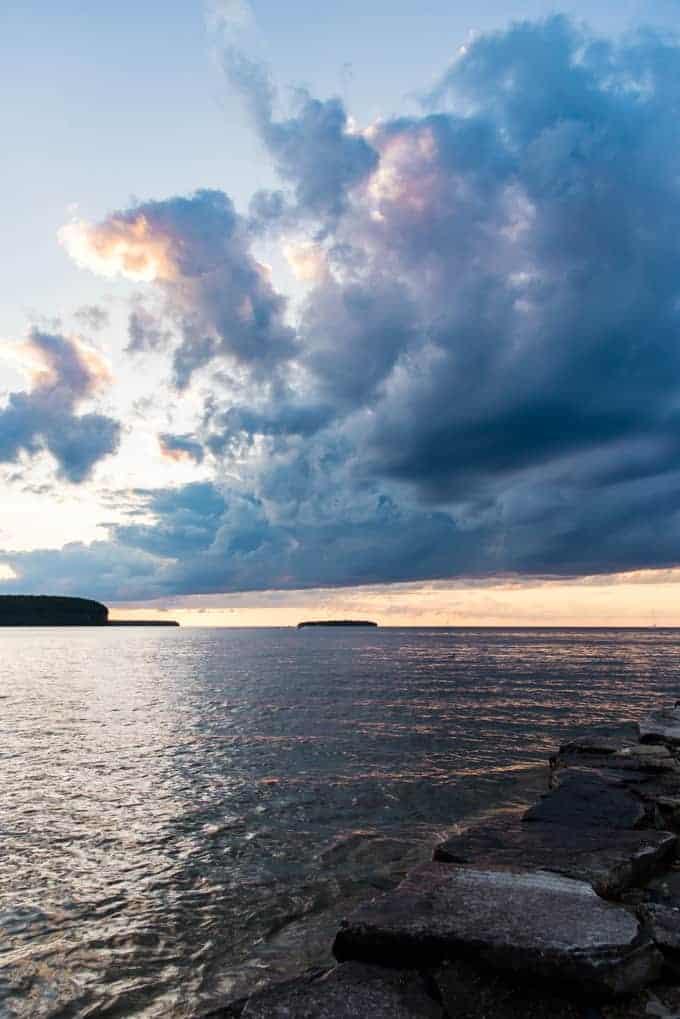 Clouds over Lake Michigan in Door County, Wisconsin.