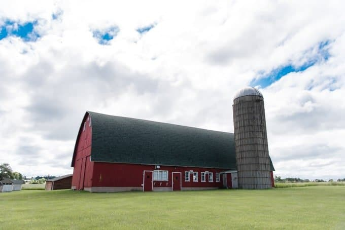 A large red barn in Door County, Wisconsin.