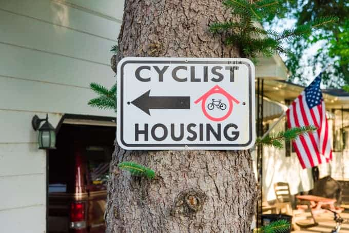 A cyclist housing sign in North Dakota.