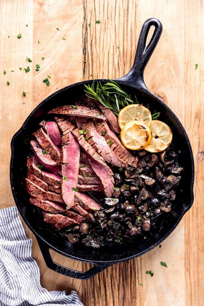 Sliced flank steak and mushrooms in a cast iron skillet.