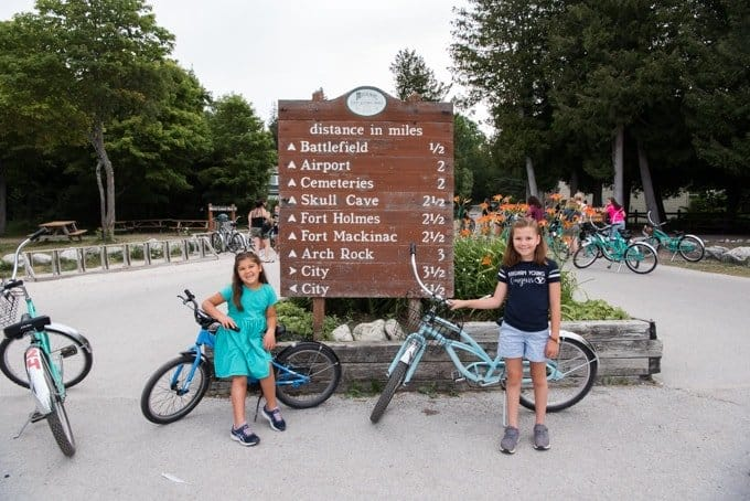 Kids and bikes on Mackinac Island.