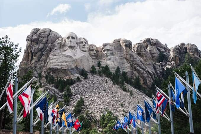 Lines of flags leading up to Mt. Rushmore.