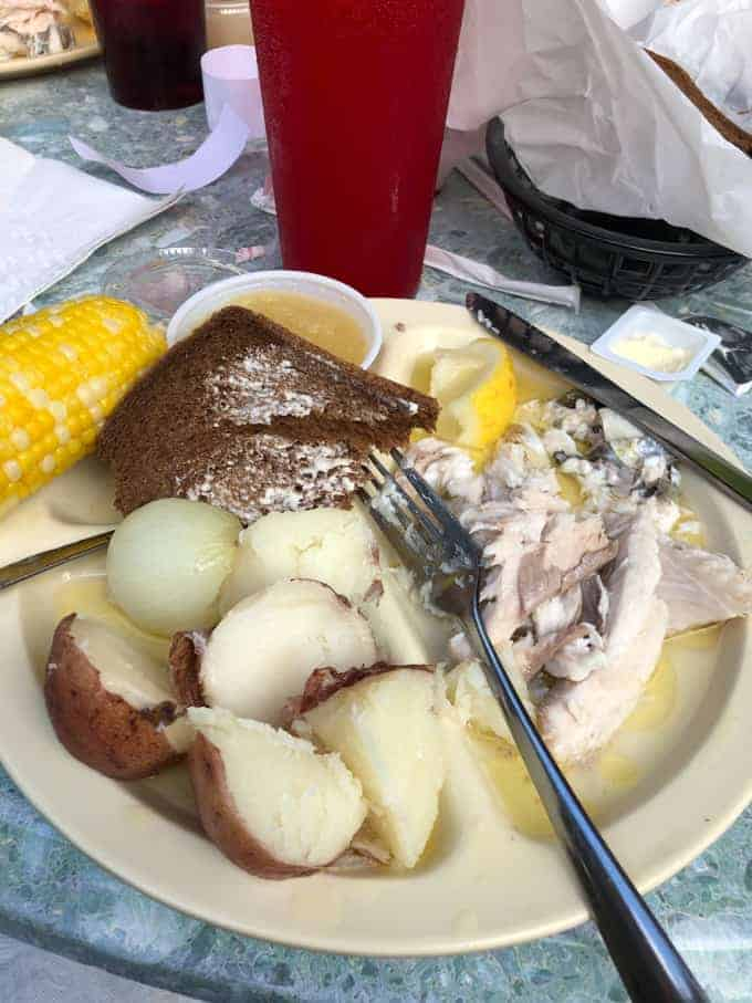 A plate of food at a fish boil in Door County, Wisconsin.
