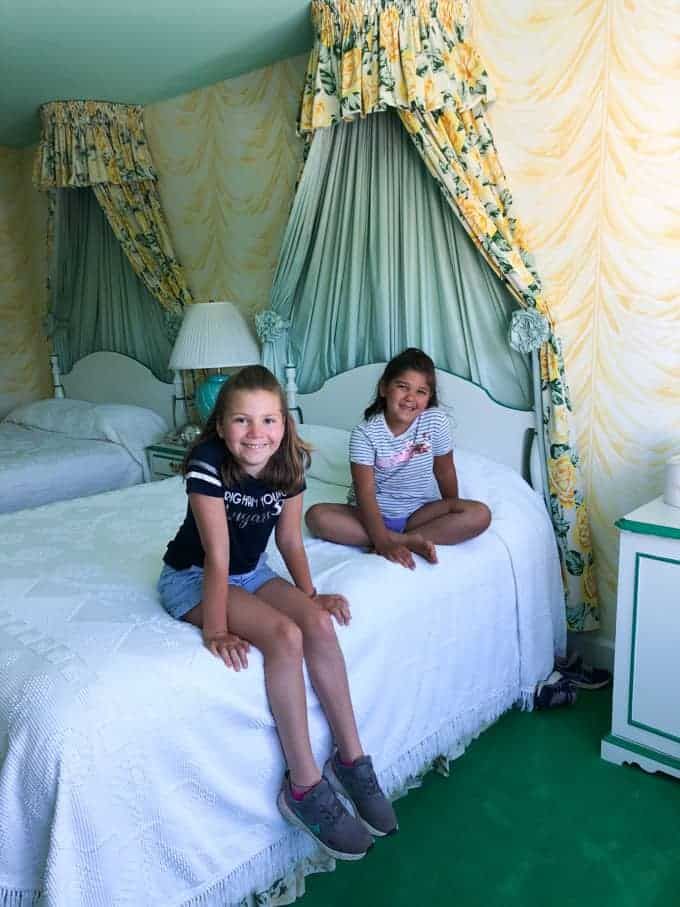 Two children in one of the rooms of the Grand Hotel on Mackinac Island.