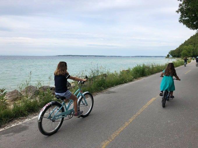 Riding bikes around Mackinac Island in Michigan.