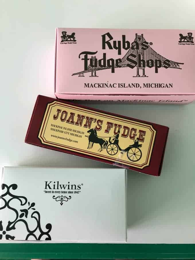 Boxes from fudge shops on Mackinac Island.