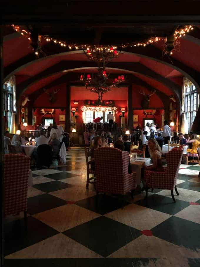 The interior of the Woods Restaurant on Mackinac Island.
