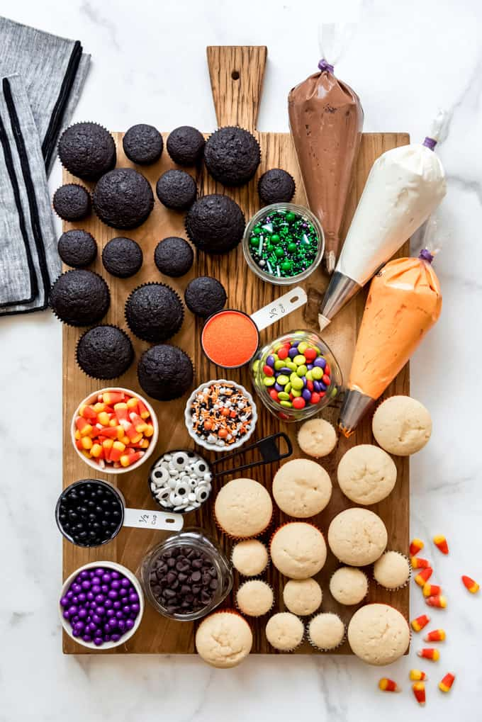 A decorate your own Halloween cupcake board.