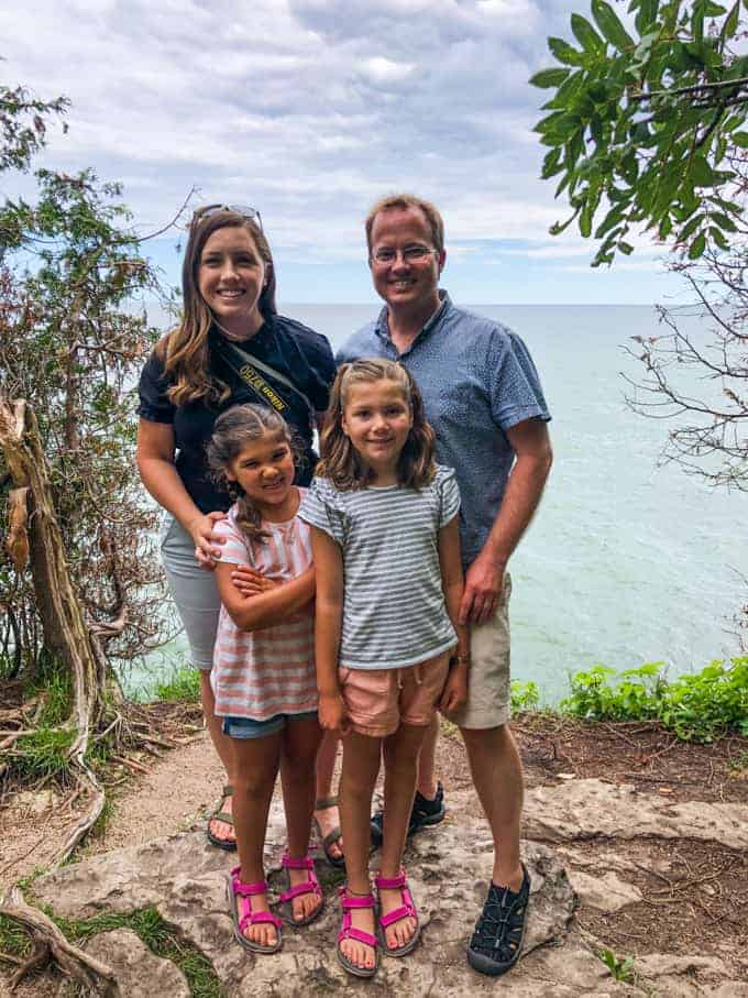 A family in Cave Point County Park, in Door County, Wisconsin.