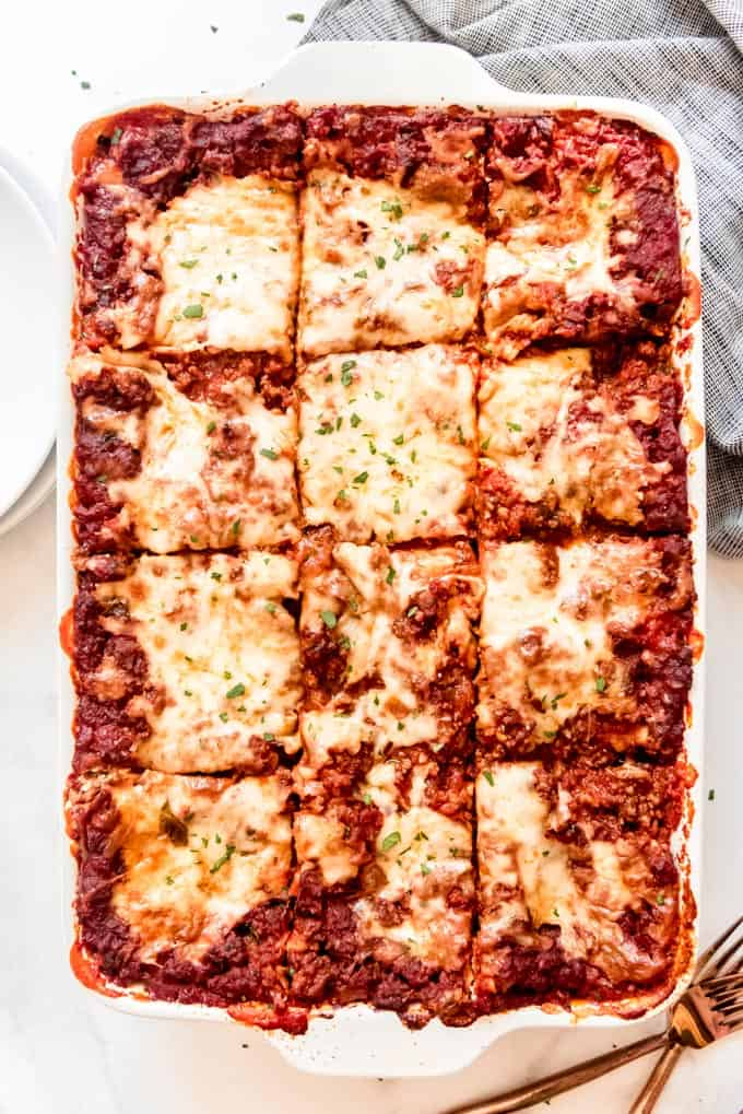 classic lasagna cut to be served