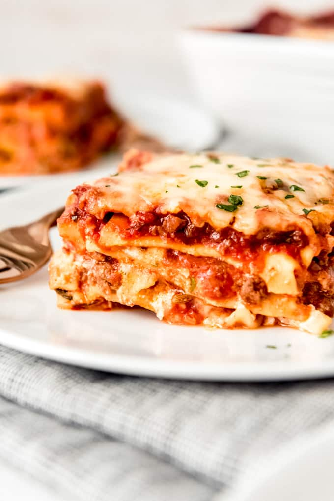 a slice of classic lasagna with meat sauce