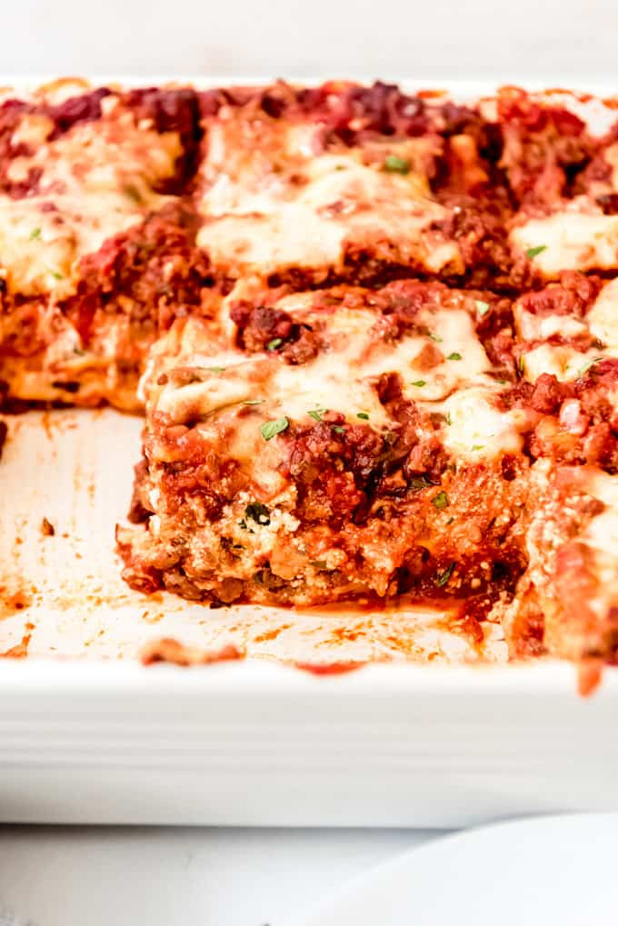 casserole dish with classic lasagna bolognese