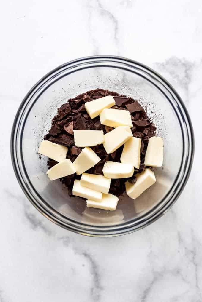 a bowl of chocolate and butter about to be melted together