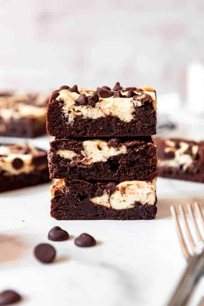 Stacked cream cheese brownies