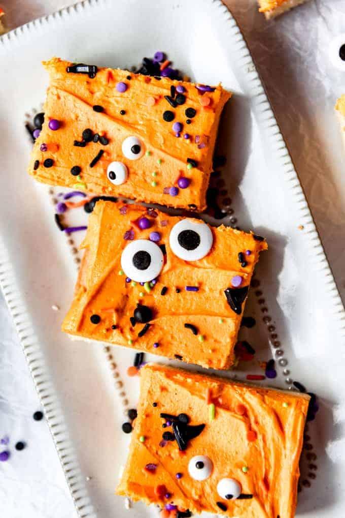 Overhead image of Halloween sugar cookie bars.