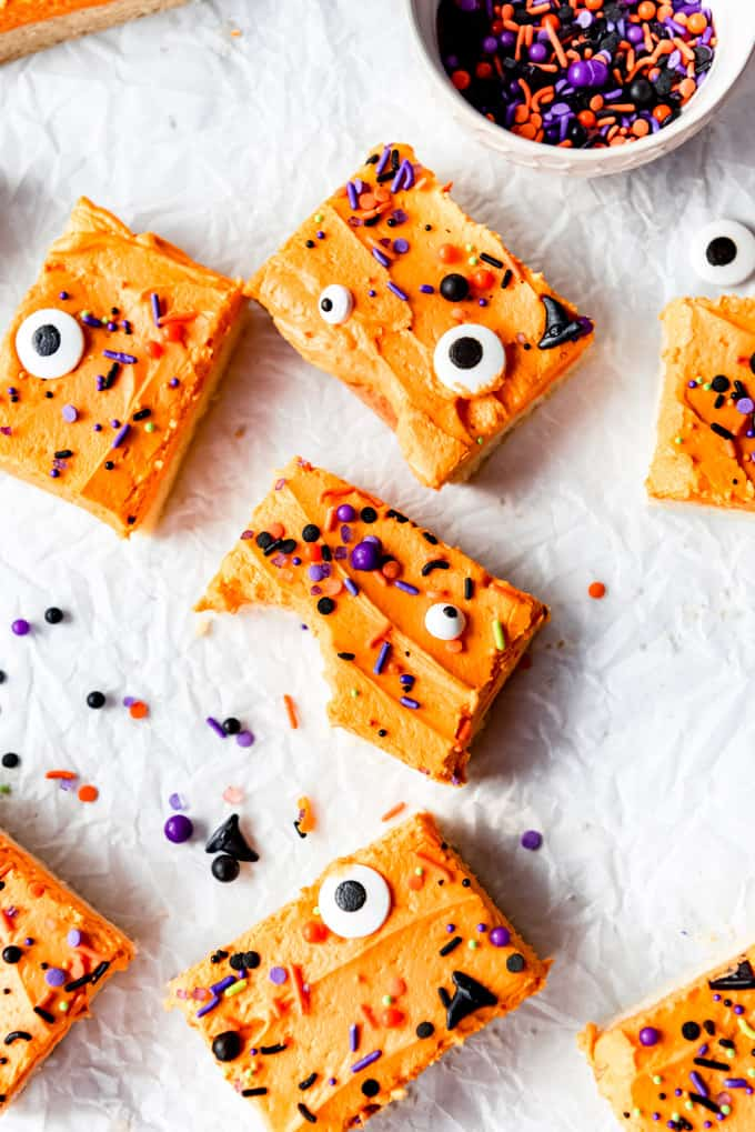 Image of sugar cookie bar with orange frosting