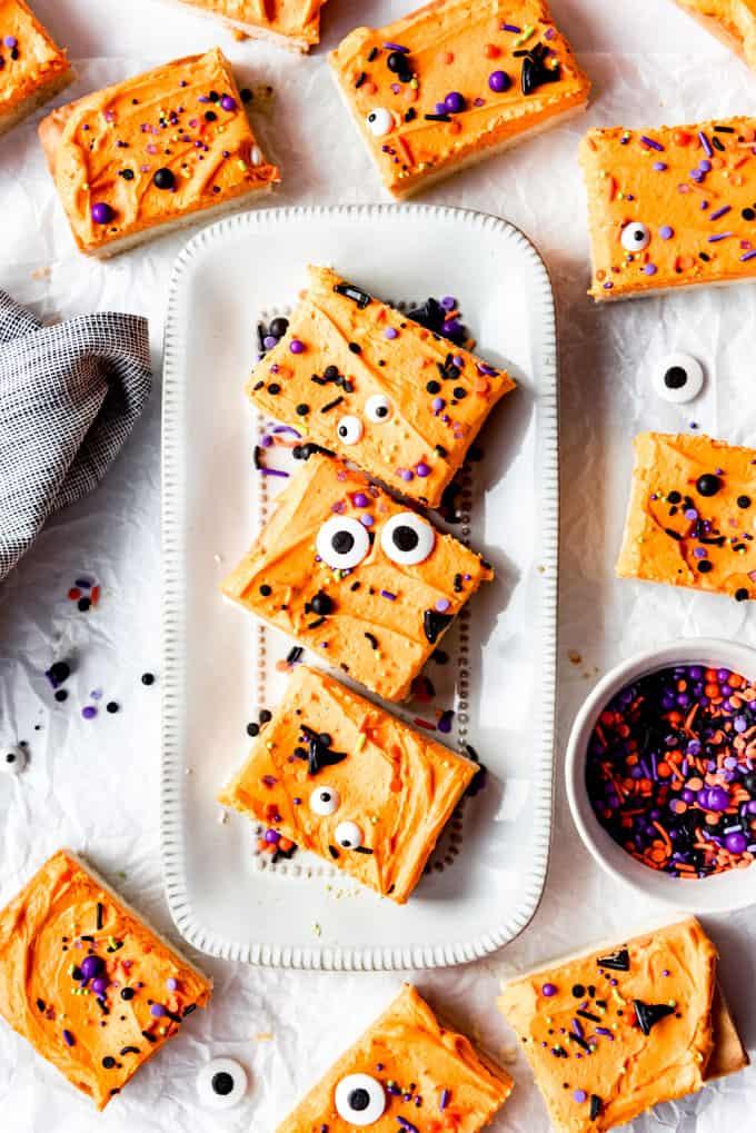 Sugar cookie bars with orange frosting.