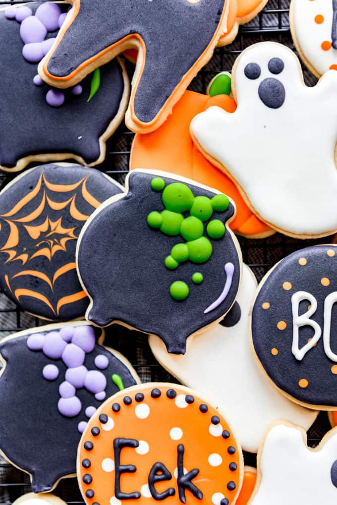 Halloween sugar cookies decorated with royal icing.