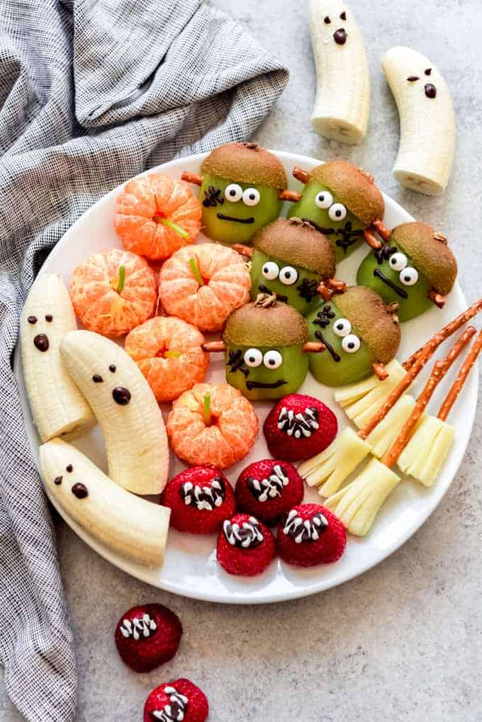 A plate of healthy Halloween snacks.