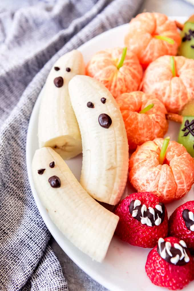 Bananas decorated as ghosts.