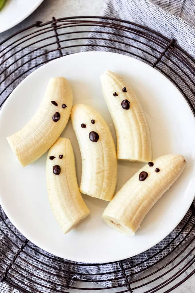 Banana ghosts on a plate.