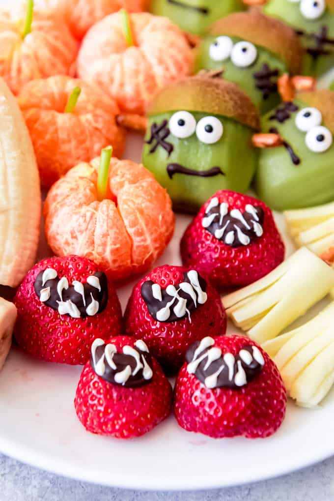 Fruit decorated for Halloween snacks.