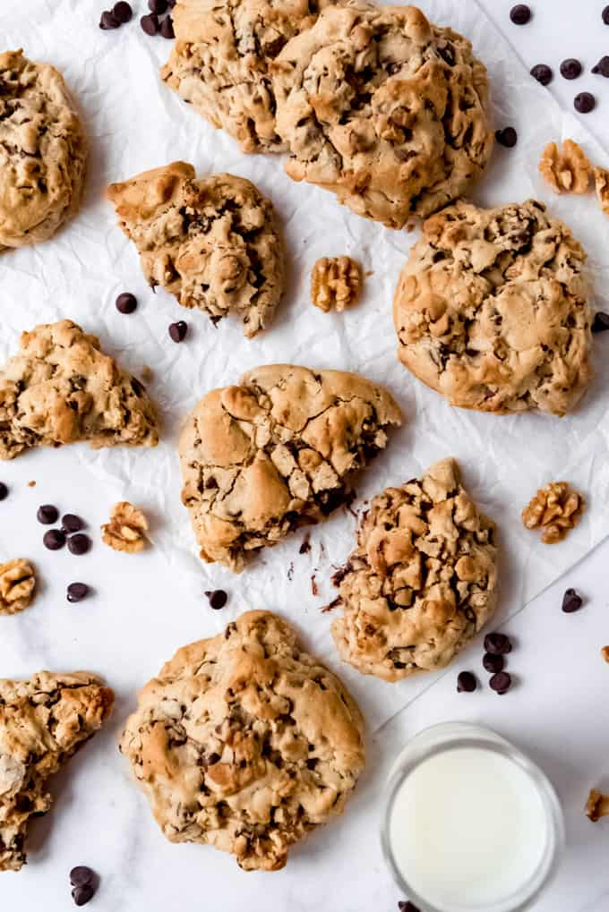 Baked Levain chocolate chip cookies with milk