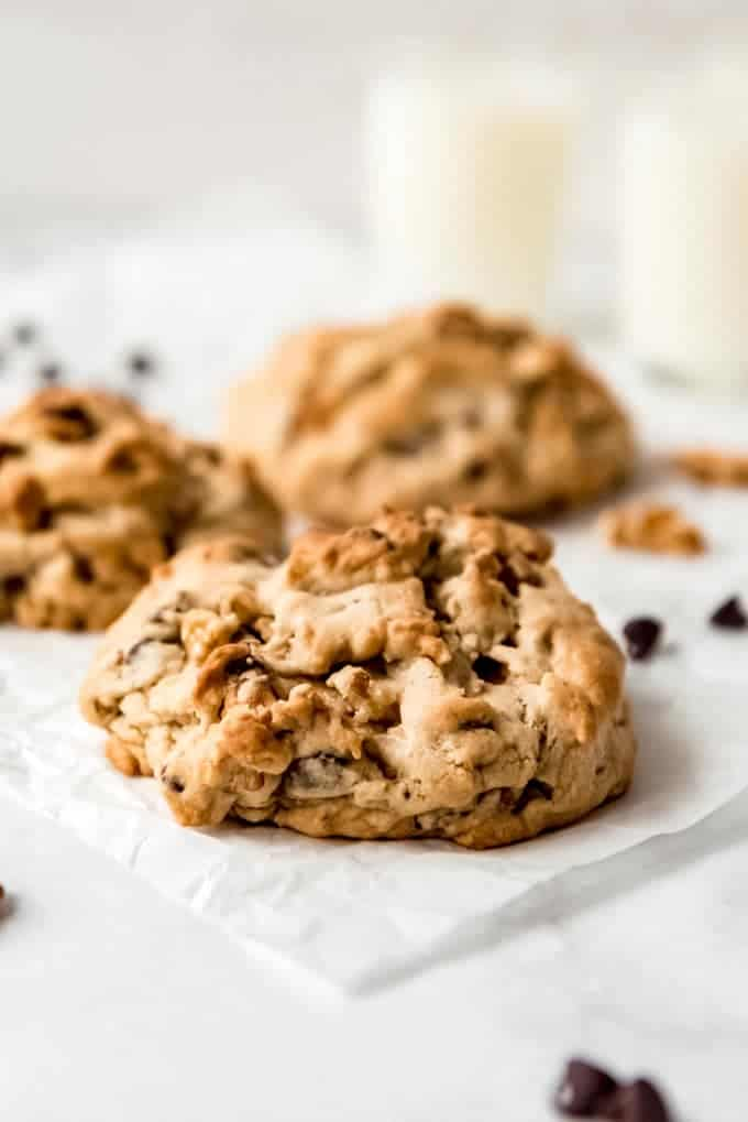 Levain Chocolate Chip Cookie on parchment paper