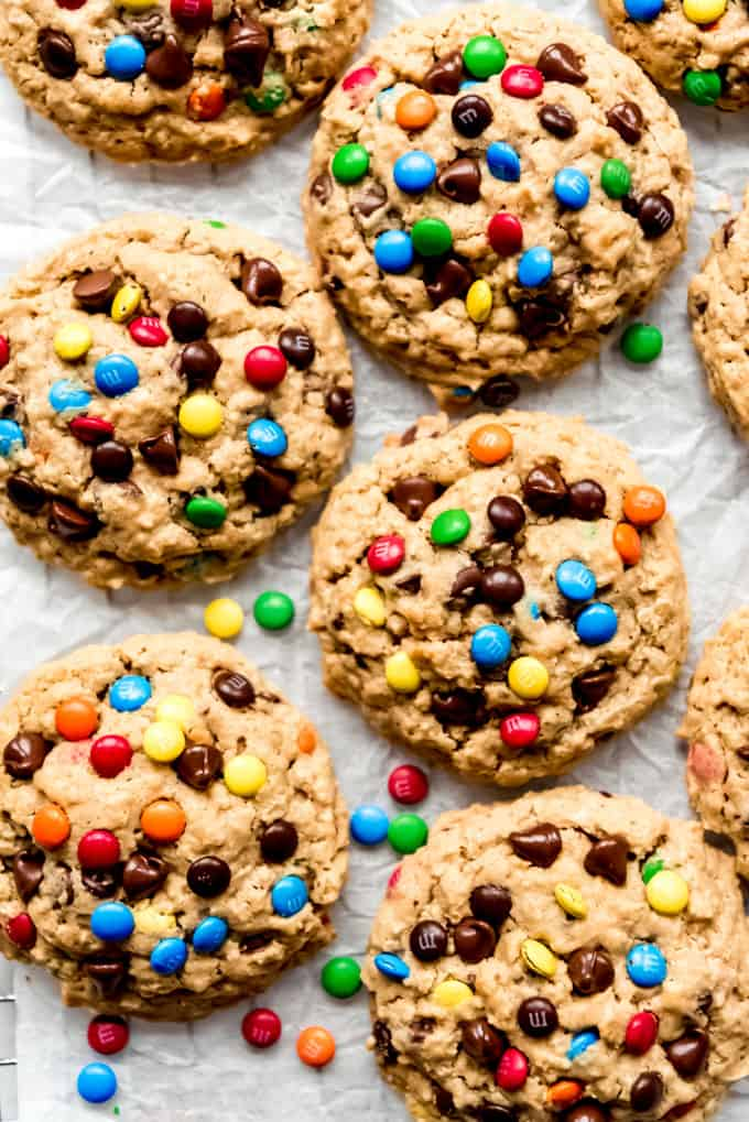 Cookies with chocolate chips and mini M&M's.