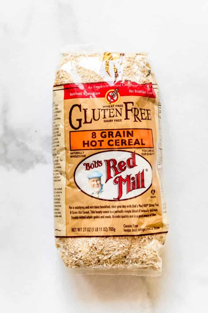 A package of Bob's Red Mill 8-grain hot cereal.