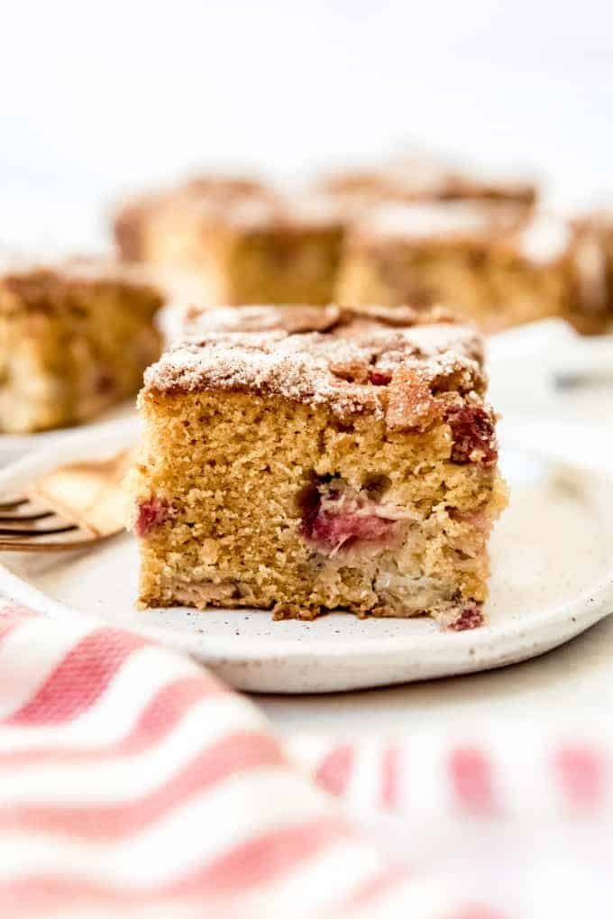 a slice of rhubarb cake on a plate
