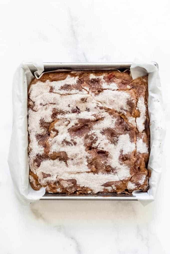 rhubarb breakfast cake in a square metal pan
