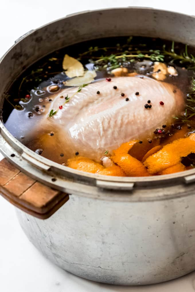A turkey in brine in a large pot.
