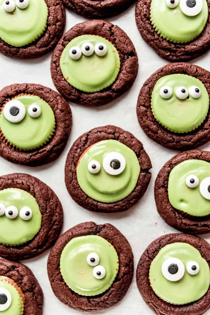 A close image of chocolate peanut butter Halloween cookies.